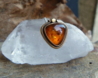 "Baltic Amber brass & sterling silver necklace // 16"" chain // amber jewelry // metaphysical"