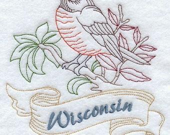 Wisconsin Robin Embroidered Tea Towel, Wisconsin Robin Embroidered Flour Sack Towel, Wisconsin State Bird Towel, Wisconsin Towel
