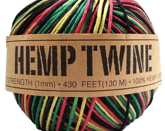 Hemp Twine Rasta 1mm