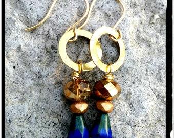Blue & Gold Earrings - Cobolt Czech Bead//Brass Rings//Gypsy//Boho/Minimalist