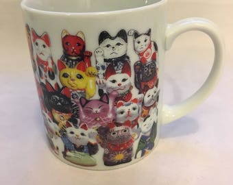 Maneki Neko lucky cats coffe mug good furtune cat lady must have mug
