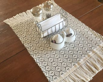 Modern Farmhouse Table Runner   Black And White Table Runner   Country Table  Runner   Farm Table Runner   Handwoven   Table Linen