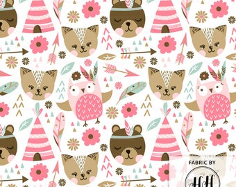 Tribal Animals Fabric By The Yard / Boho Fabric / Girl Fabric / Pink and Brown Baby Girl Animal Print in Yards & Fat Quarter