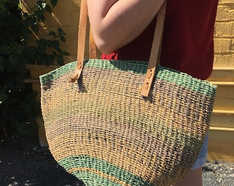 Large Vintage Basket Woven and Leather Summer Beach Tote Market Bag