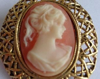 Vintage Orange Cameo Pin, Vintage Cameo Brooch, Vintage Cameo, Gold Tone Cameo Brooch, Vintage Jewelry Cameo, Vintage Brooch Cameo, Cameo