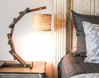 Rustic Desk Lamp   Modern Bedside Lamps   Reading Lamp   Bedside Light    Wood Desk
