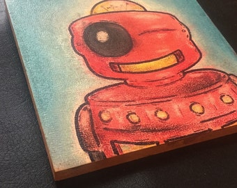 "Robot Class Photo #15: April (Pastel/Ink on 5""x5"" canvas panel)"