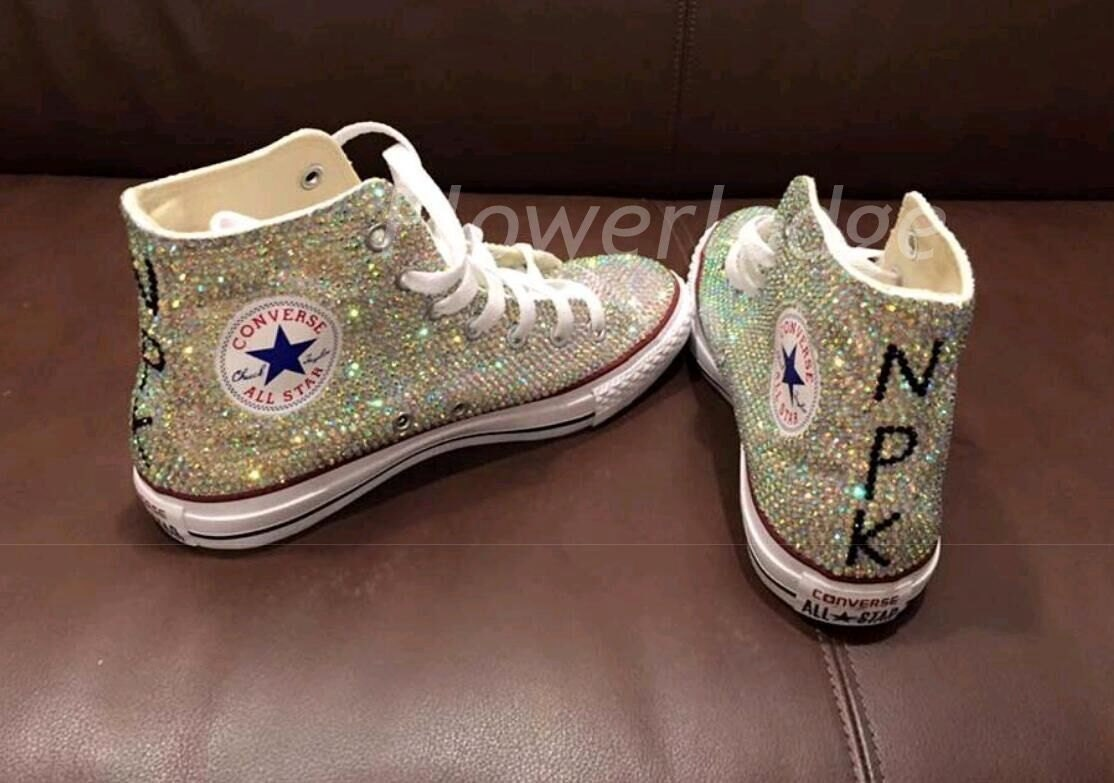 Rhinestone converse high top style bride sneaker shoes flower zoom ombrellifo Images