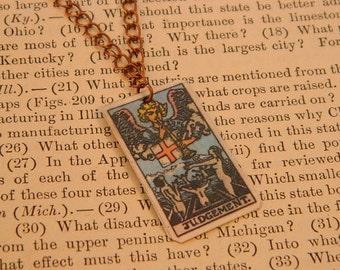 Tarot pendant tarot jewelry Judgement minimalist jewelry mixed media jewelry supernatural