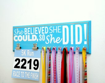 Race Bib and Running Medal Holder - She Believed She Could So She Did - Run Like A Girl - Girls Medal Holder - Race Bib Holder - Medal Rack