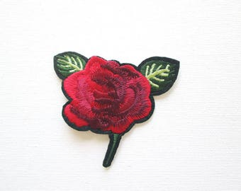 Red Rose Embroidered patch, Iron On, Rose Bud, Flower, Applique, Motif, Fashion, Jacket, Cap, Boho Rose, Bohemian Rose, Delicate, Rose, Bud