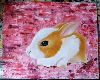 Abstract Bunny - Original oil painting (only one available)