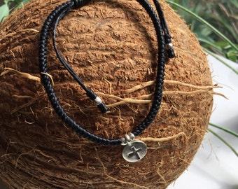 Friendsgip braclet/ Sterling Silver /rustic/cotton cord/cord/string/cross/cross charm