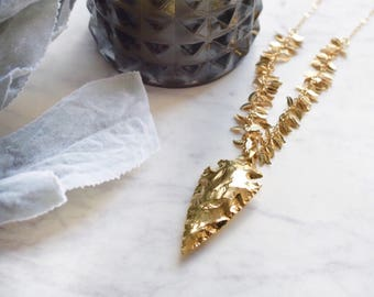 Gold arrowhead necklace gold bohemian necklace long gold necklace long boho necklace bohemian jewelry gold statement necklace