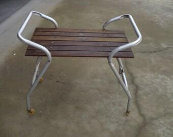 Vintage Aluminum Patio Rolling Cart , Redwood Table Top
