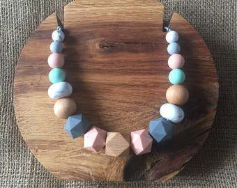 Peach Mint & Grey Delight!! Mama Necklace