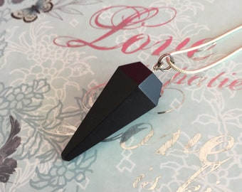 Crystal Pendulum Necklace, Black Tourmaline Pendulum, Healing Crystal Necklace