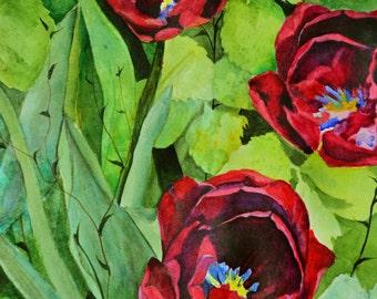 watercolor painting original scarlet red tulips fine art painting watercolors floral painting flower paintings botanical tulip art spring