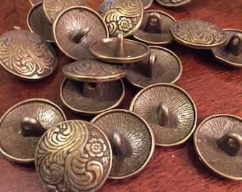 17mm bronze flower fern metal shank button, set of 10