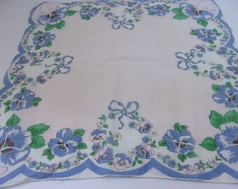 Vintage 1950s Soft Cotton Hanky Handkerchief with Pink and Blue Pansies, Lovely Pansy Hanky or Pocket Square, So Pretty! Soft Pink Cotton