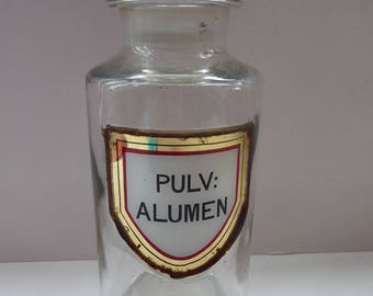 Large Antique Clear Glass Chemist Bottle. PULV: ALUMEN with Original Foil Label and Ball Stopper. 9 1/4 inches