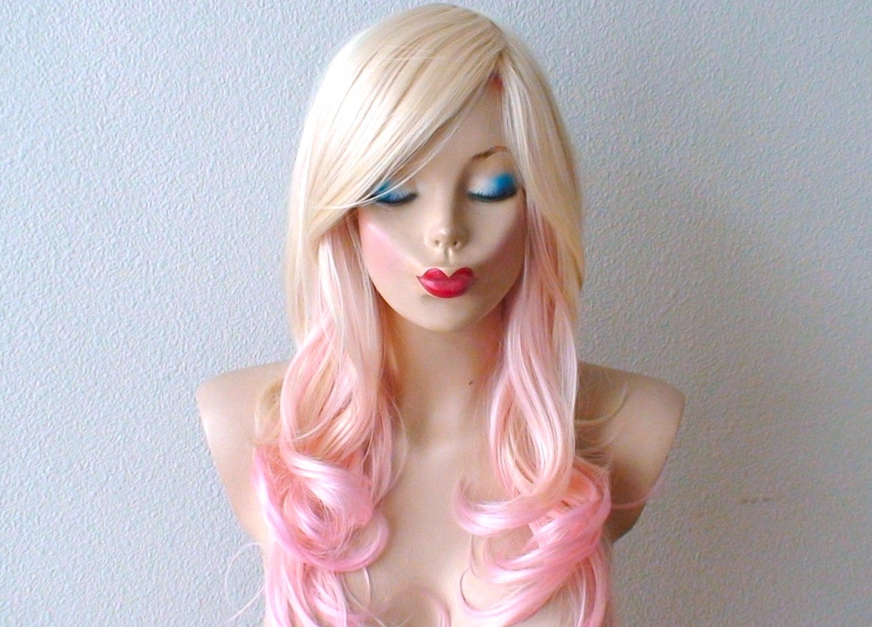 Blonde Pink Ombre Wig Pastel Pink Hair Curly Hairstyle With