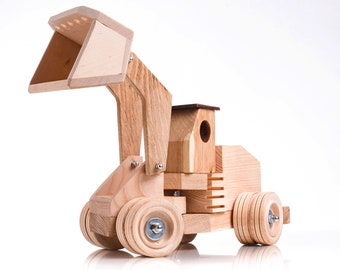 Wooden toys tractor with loader Handmade natural wood excavator Montessori organic toy for kids Educational toy Waldorf Unique gift for boys