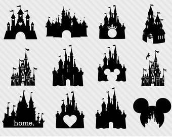 Disney castle svg bundle, disney castle clipart, castle svg, png, dxf, princess clipart