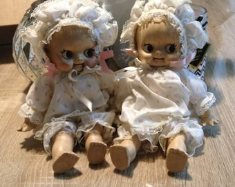 Pair of **Adorable** KEWPIE CUPIE Dolls Composition / Ceramic / Celluloid ? Cute little couple Unmarked