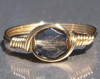 Midnight Czech Glass 14k Yellow Gold Filled Wire Wrapped Ring