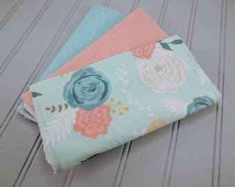 Floral Burp Cloths | Mint and Rose Burp Cloths | Baby Burp Cloths | Baby Gifts | Burp Rags