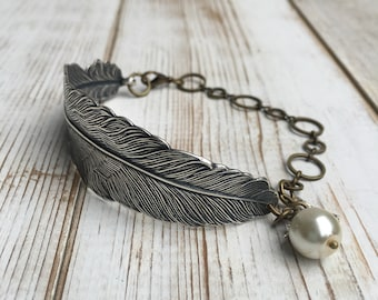 Silver FEATHER BRACELET Silver Bird Nature Forest Woodland Wedding Pearl Silver Cuff