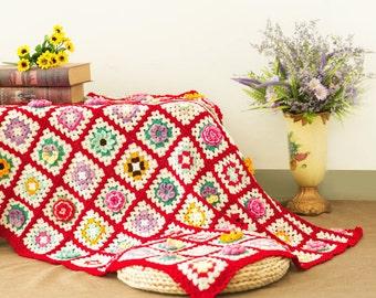 Crochet blanket, Crochet throw ,Granny square Afghan,Crochet Afghan,Handmade blanket - Spring flower