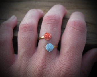 Petite Bouquet Ring - CORAL plus BLUE