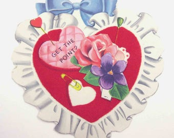 Vintage Children's Novelty Valentine Greeting Card with Flocked Heart Pincushion Sewing