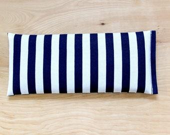 Yoga Eye Pillow, Lavender Flaxseed Pillow, Navy & White Sailor Stripe Headache Pillow, Tension Stress Relief Relaxation Gift