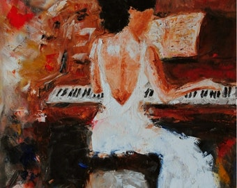 The Pianist-FINE ART PRINT Abstract Impressionism Piano Musician Oil Painting