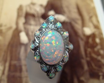 RESERVED for Noah...Stunning Sterling Silver Opal  Ring  Size 6