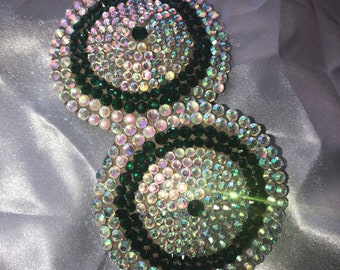 Green and crystal rhinestone nipple tassels