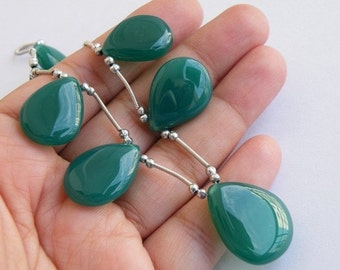 Green Chalcedony Gemstone Briolette Smooth TearDrop Pear 18.5 to 19.5mm 6 beads