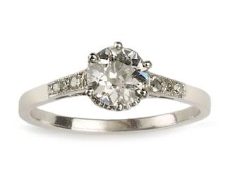 Art Deco single stone diamond ring, 0.84ct