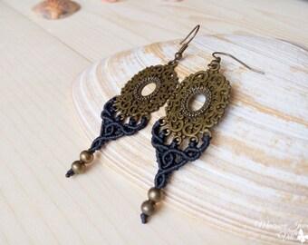 Goddess Bohemian Macrame Earrings, Gypsy Boho Chic Earrings, Micro Macrame Black Earrings, Festival Macrame Earrings, LARP Jewelry