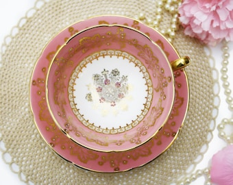 Vintage Royal Grafton Teacup, Pastel Pink, Gold Leaves Lace Tea Cup and Saucer, Gold Star, White Pink and Gold