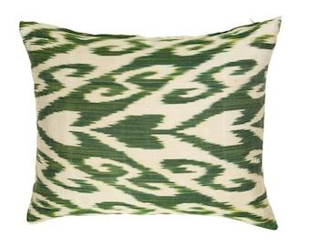 forest green pillow,green ikat pillow,silk ikat pillow,green and cream pillows,elegant throw pillows,forest pillow,pillow covers,ikat pillow