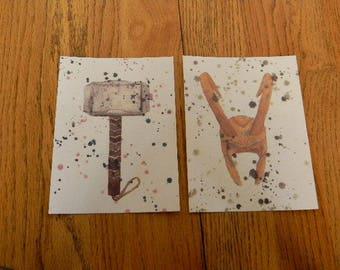 Set of 2 THOR and LOKI Themed Art Prints