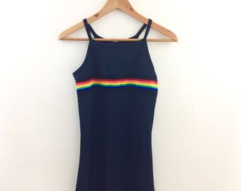 Vintage Rainbow Striped Spandex Mini Dress