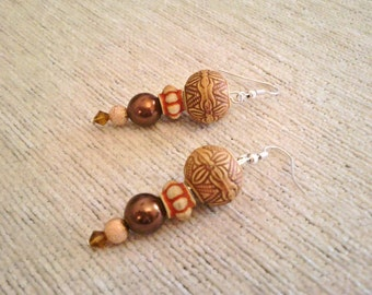 Earrings Africa Massai Brown Carved Wood