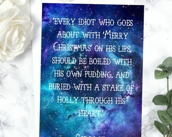 Christmas Carol Christmas Card - Scrooge Quote - Literary Gift