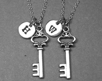 Best friend necklace, skeleton key necklace, key necklace, bff necklace, friendship jewelry, personalized necklace, initial charm, monogram