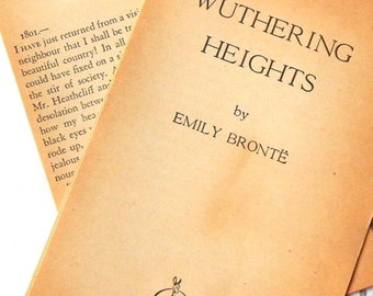 Vintage Book Pages. Wuthering Heights. Emily Bronte. Vintage Books. Junk Journal Supply. Journal Paper. Scrapbook Ephemera. Vintage Journal.